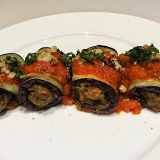 Eggplant Involtini With A Roasted Capsicum Sauce