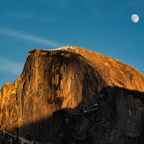 Moonrise Over Halfdome by Eric Yiskis - Landscapes Mountains & Hills ( halfdome, national park, moon, winter, yosemite, california, sunset, snow, rock,  )