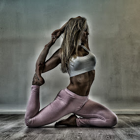 Pink Pants by Ben Rohleder - Sports & Fitness Fitness ( balance, blonde, girl, relax, fitness, mindful, healthy, wellbeing, relaxation, relaxing, stretching, yoga,  )