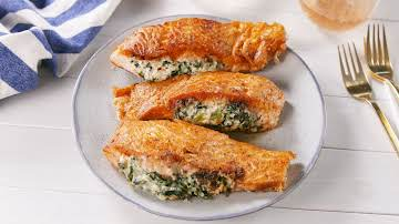 Creamed Spinach Stuffed Salmon