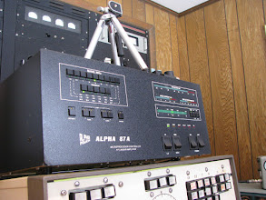 Photo: Alpha 87A amp - auto tune and 1.5 KW. Terry rigged the stationto automatically switch between all 5 HF antennas behind the scenes using the K3 band decoder output data and a 5 position relay