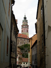 Photo: The round tower at Krumlov Castle