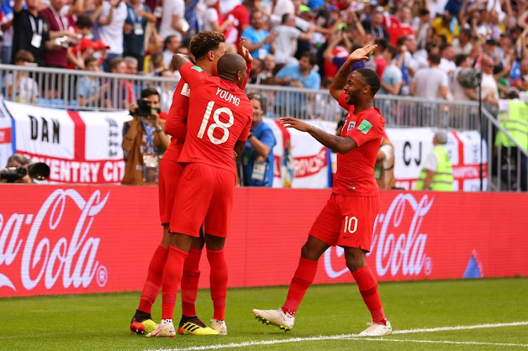 Dele Alli of England celebrates scoring a goal to make it 0-2 with Ashley Young and Raheem Sterling during the 2018 FIFA World Cup Russia Quarter Final match between Sweden and England at Samara Arena on July 7, 2018 in Samara, Russia.