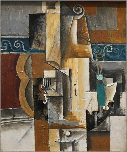 "picasso-violin-guitar.jpg -  Pablo Picasso, ""Violin and Guitar,"" 1913, oil on canvas, at the Hermitage at St. Petersburg, Russia."