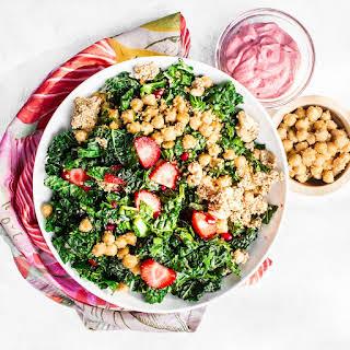 Kale Salad with Pink Tahini Dressing.