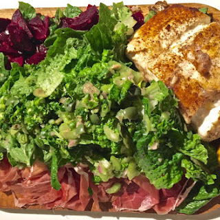 Alaskan Halibut with Prosciutto and Roast Beet Salad