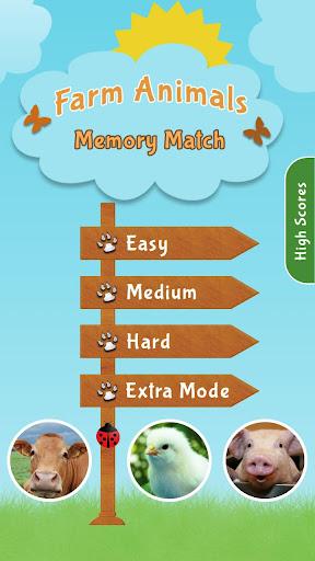 Farm Animals Memory Match Game