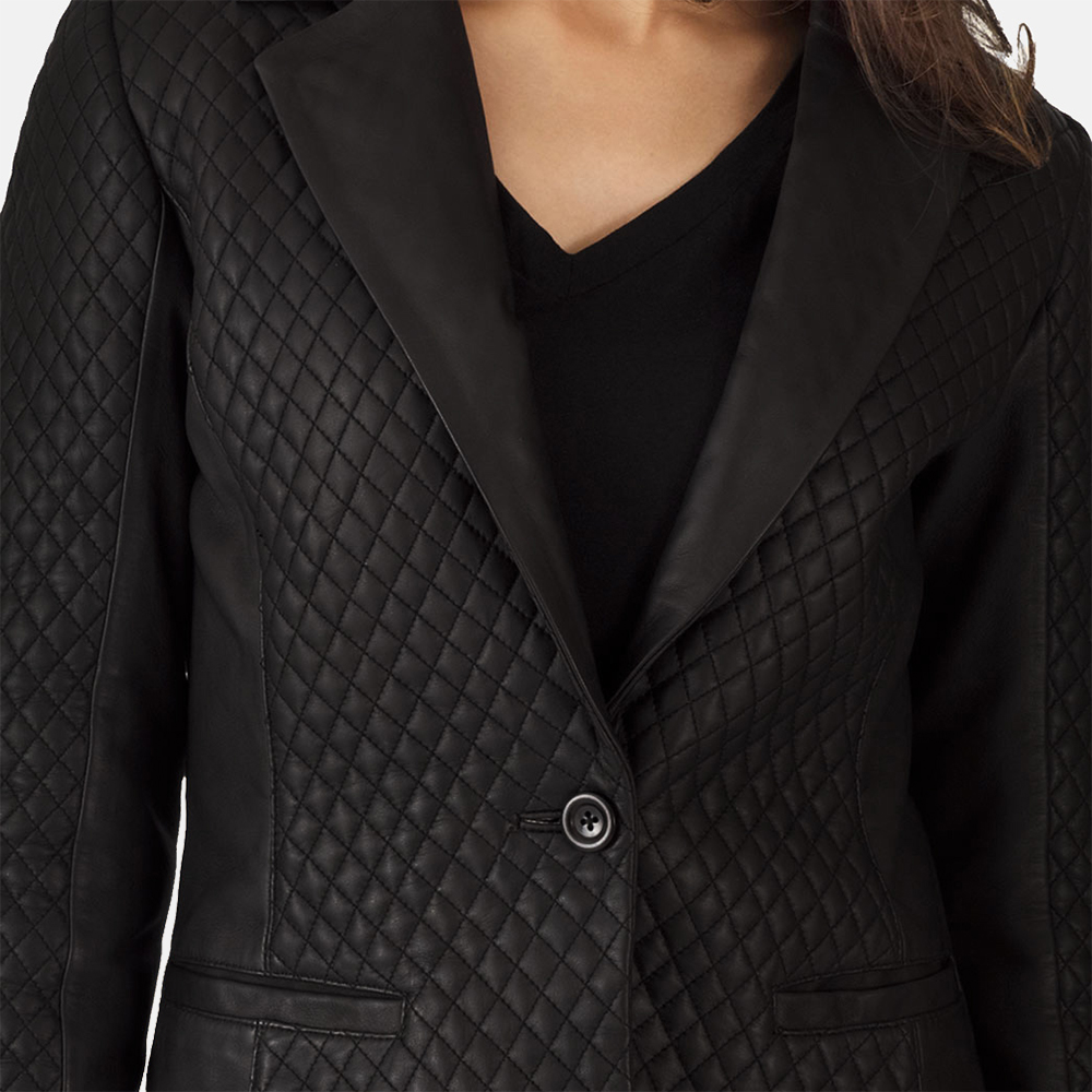 Cora Quilted Black Leather Blazer