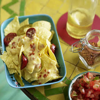 Nachos with Cheese Sauce and Salsa.