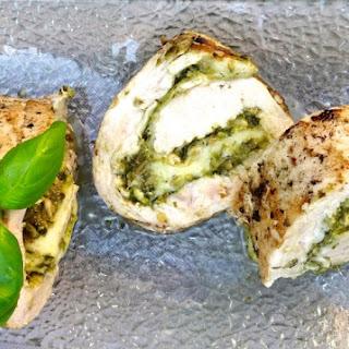 Sous Vide Pesto and Mozzarella Chicken Roulade.