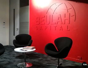 Photo: Beulah Capital, embossed logo lettering, routed 6mm letter painted to match feature wall colour.