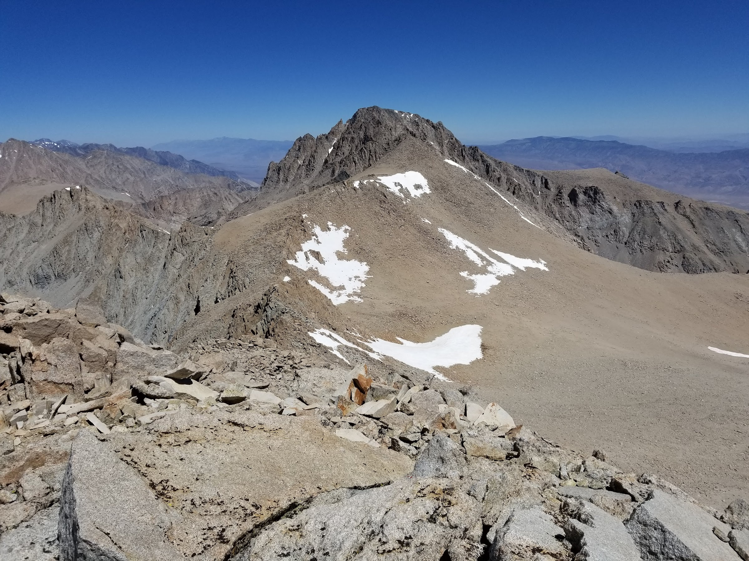 Mount Williamson and Trojan Peak from the summit of Mount Barnard