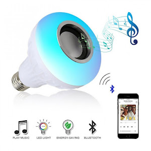 Set 3 x Bec LED Bluetooth cu boxa, lumini si telecomanda