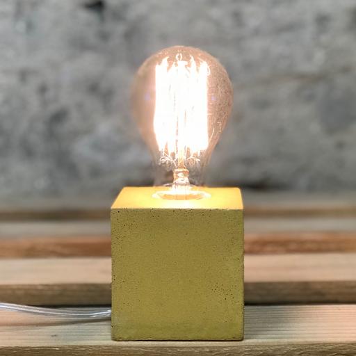 lampe cube béton jaune moutarde