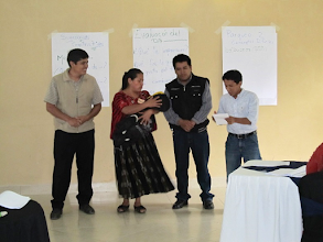Photo: TOPS/Food for the Hungry  This role play of family decision-making regarding feeding baby was one participatory activity tested recently in a field staff training in Coban, Guatemala. The workshop was part of a pilot project led by Food for the Hungry in Guatemala, with assistance from the Carolina Global Breastfeeding Institute and support from TOPS.