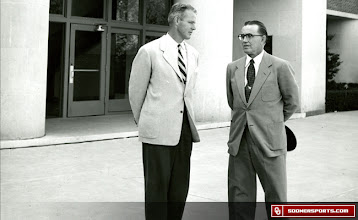 Photo: Wilkinson, left, with former OU President George L. Cross circa 1950.