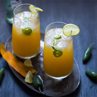 Tall Mango Jalapeno Fizzy Cocktail.