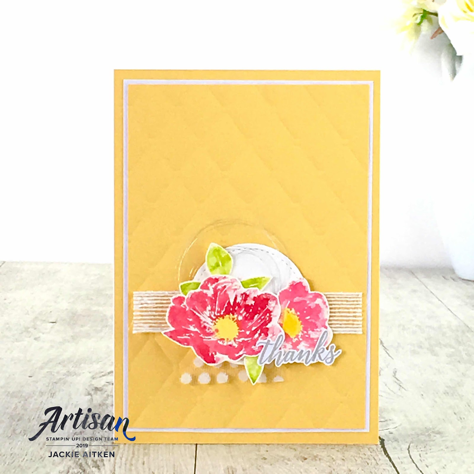 jaxx crafty creations, CAS cards, Colour INKspiration Blog Challenge, Floral Essence, Genuine Gems, Thank You Card,