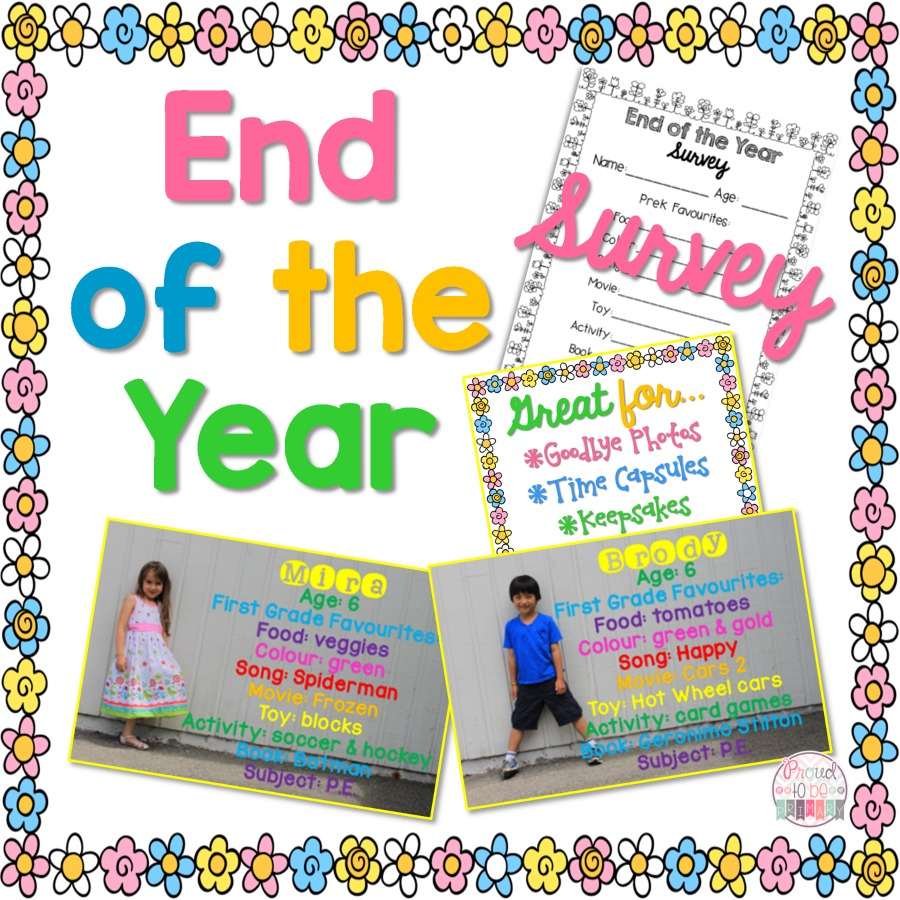 end of the year school picture keepsake - free survey printable