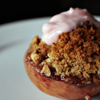Baked Peaches with Raspberry Crumble