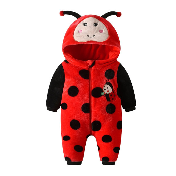Red Flannel Cute Ladybug Coveralls