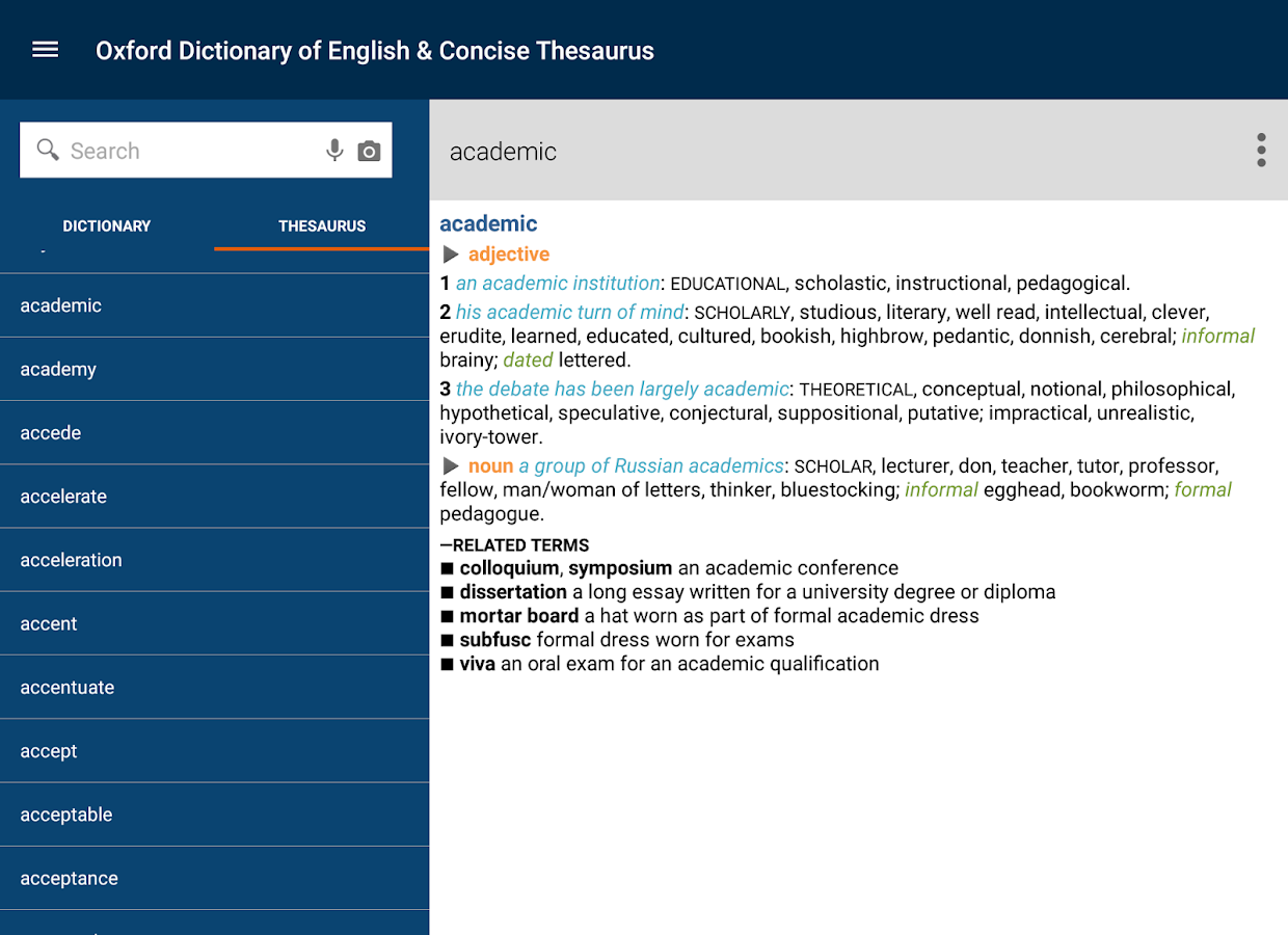 Oxford Dict of English & Thes- screenshot