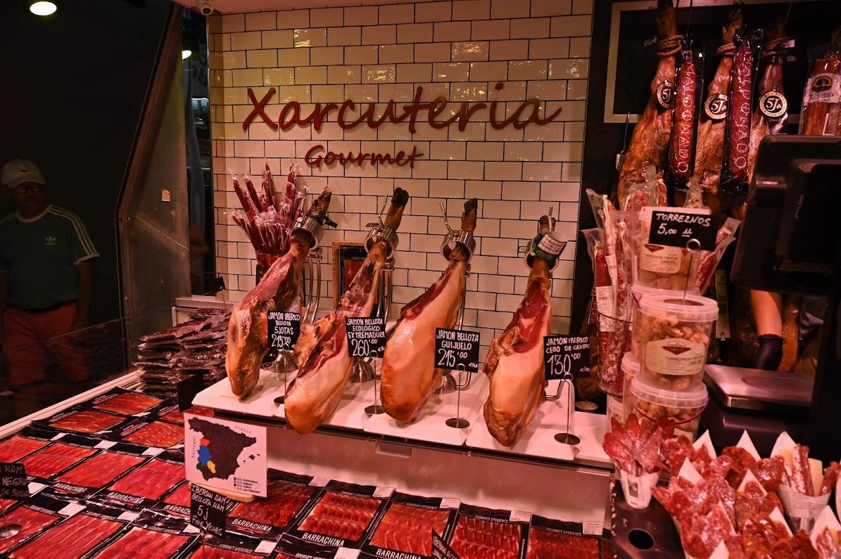 Jamon at Barcelona's La Boqueria market