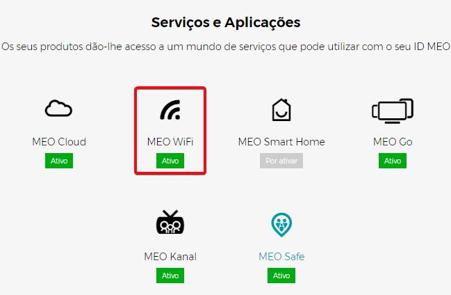 Confirmar se o serviço MEO WiFi está ativo no My MEO (Area de Cliente)