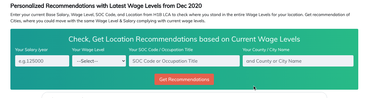 Recommendations based on Wages form