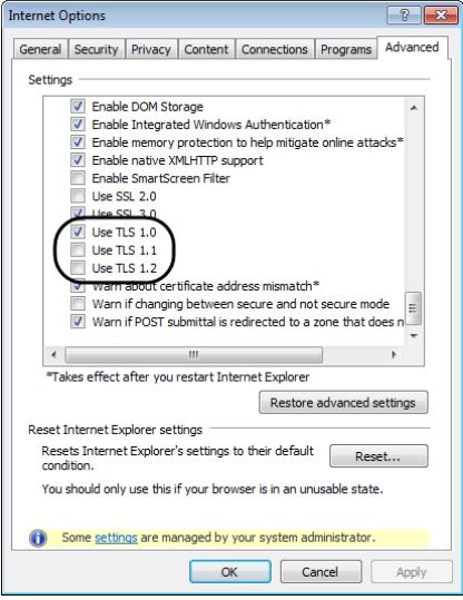 Internet Options : Check mark the Use TLS 1.0, Use TLS 1.1 & Use TLS 1.2