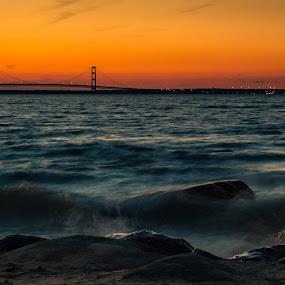 Sunset at the Mackinac Bridge by Chris Martin - Landscapes Sunsets & Sunrises ( mackinac, michigan, lake michigan, mackinaw, sunset, mackinac city, bridge, mackinac bridge,  )