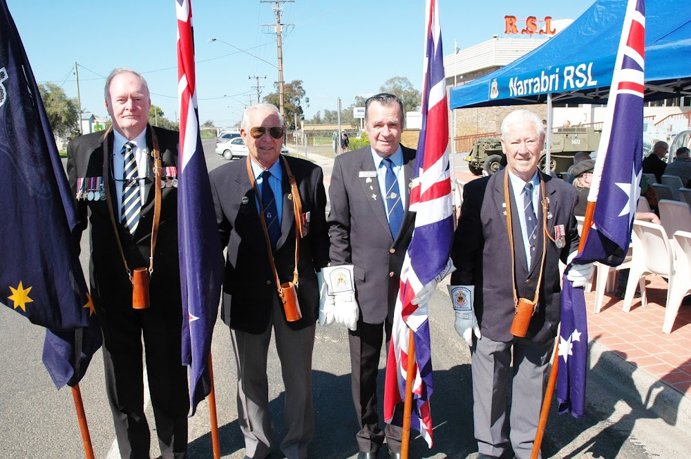 Flag bearers: Gary Laurance, Boyce Alexander, Gary Martin and Sonny Colyvan before the commemoration.