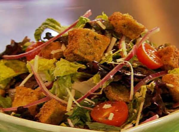 Fresh Spring Salad With Eggplant Croutons
