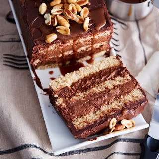 Chocolate Mousse Cake with Roasted Peanuts.