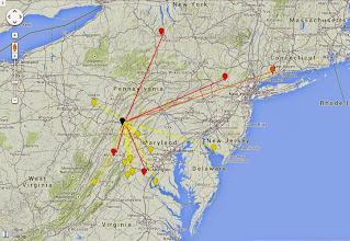 Photo: K8GP/R - FN00wa 50-432 MHz QSO map - ARRL June VHF 2014 - Brn=50 Red=144 Org=222 Yel=432