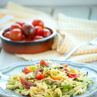Orzo with Mushrooms, Asparagus, and Cherry Tomatoes