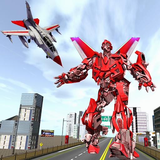 City Flying Airplane Robot Hero