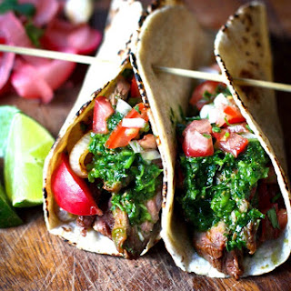 Grilled Steak Tacos with Cilantro Chimichurri Sauce.