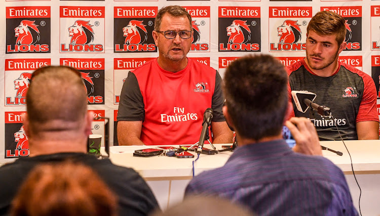 Swys de Bruin (coach) of the Lions and Malcolm Marx of the Lions during the Emirates Lions Team Announcement and Mix Zone at Emirates Airline Park on March 07, 2019 in Johannesburg, South Africa.