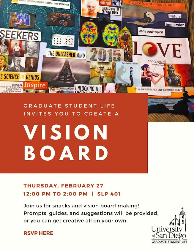 Vision Board Creating Event, Thursday, February 27 from 12-2pm in SLP 401