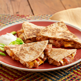 Refried Bean and Chicken Quesadillas.