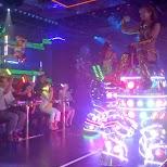 Japanese girls riding robots in Kabukicho, Tokyo, Japan