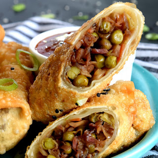 Vegetarian Spring Rolls with Chinese Sweet and Sour Dipping Sauce.