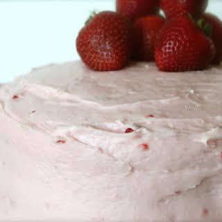 Fresh Strawberry-Jello Cake with Strawberry Cream Cheese Frosting.