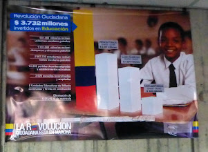 Photo: Poster in the Ministry comparing current administration's education investment with its predecessors