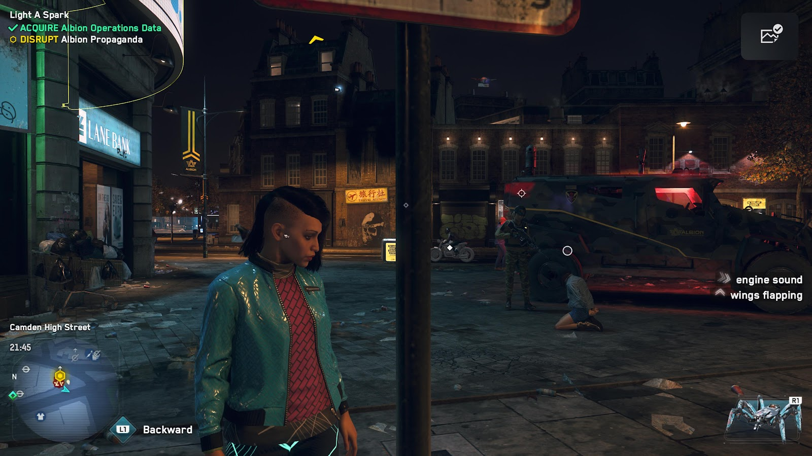 Watch Dogs character standing next to an Albion agent pointing his gun at a restrained woman.