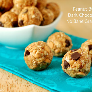 Peanut Butter & Dark Chocolate Chip No Bake Granola Bites