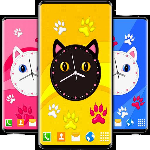 Kitty Clock Wallpaper Cute Cat Live Wallpapers Applications