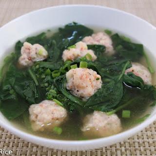 Spinach and Shrimp Balls Soup (Canh Rau Spinach Voi Tom Vien) Recipe