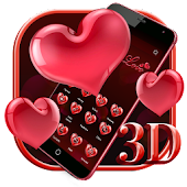 3D Red Love Heart Theme